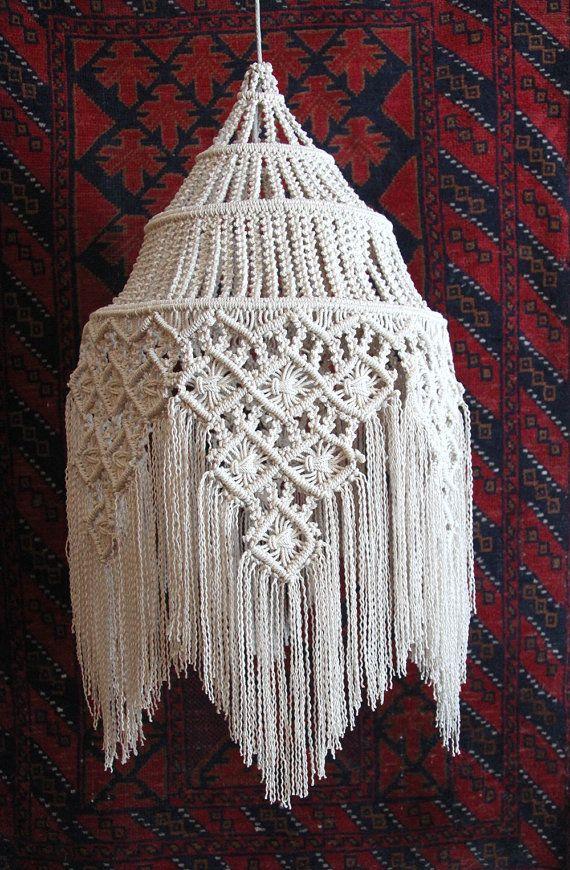 """Fringed Hanging Macramé Lamp ~ Size: 30""""x 15"""""""