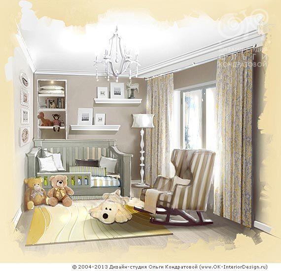 Рисунок детской комнаты в стиле ретро  http://www.ok-interiordesign.ru/ph_dizain-detskoy-komnaty.php