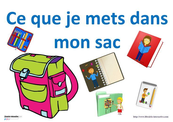 1 affiche et 39 images pour afficher ce que vos élèves doivent mettre dans leur sac.