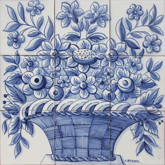 Bicesse Tiles - Portuguese tiles from Portugal wall decorative ceramic panel mural - BLUE BASKET OF FLOWERS
