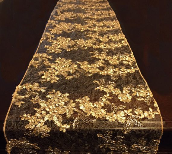 gold lace tablecloth gold table overlay by FantasyFabricDesigns