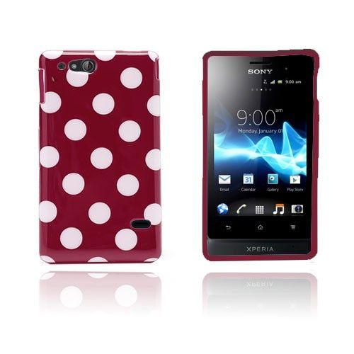 Polka Dots (Punainen) Sony Xperia Go Suojakuori