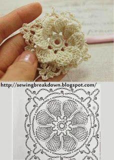 Flower crochet block SANDRA PONTOS DE CROCHÊ E TRICÔ...........