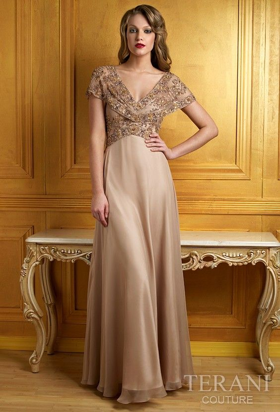 light gold mother of the bride dress
