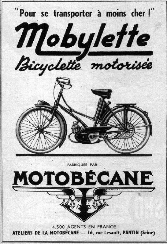 Publicité Mobylette Motobécane 1951