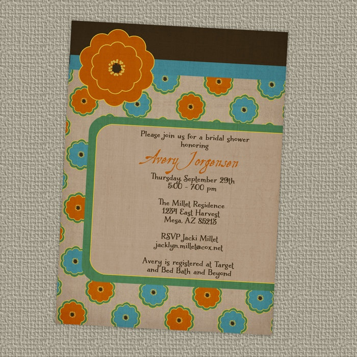Modern wedding or bridal shower invitations digital