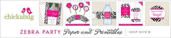 Chickabug zebra party theme paper goods & printables