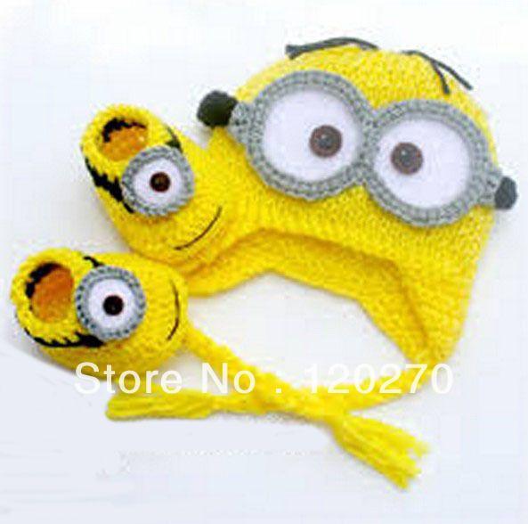 Aliexpress.comのKids & Mothercare から 帽子&野球帽の中の送料無料despicable私に赤ちゃんの帽子かぎ針編み+編み上げシューズ新生児男の子の女の子のよちよち歩きの幼児の綿の帽子ブーティ2ピーススーツ