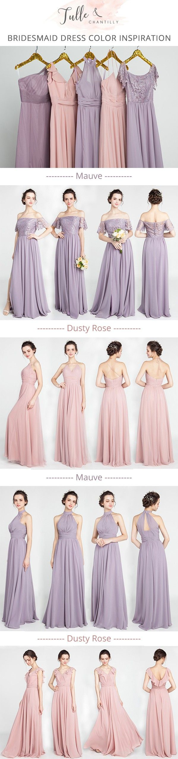 mismatched mauve purple and dusty pink bridesmaid dresses