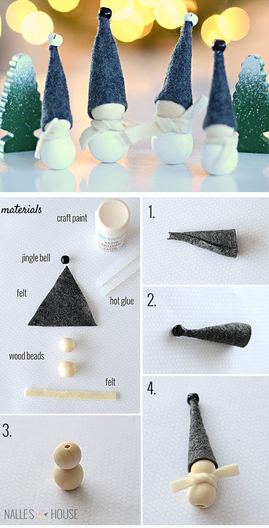 Aarikka Inspired Jingle Bell Elves | Click for 28 Easy DIY Christmas Decorations for Home | Easy DIY Christmas Ornaments Homemade