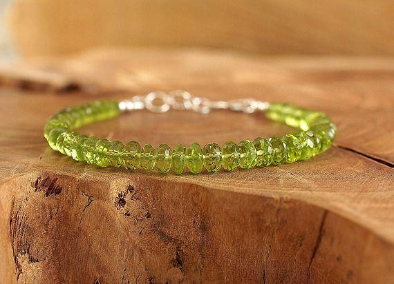 Bracelet péridot en argent sterling Bracelet avec pierres vertes naturelles Bijoux stykle bohème by Freesize