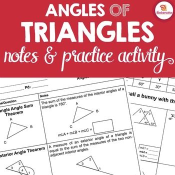 Notes to introduce/review the Triangle Angle Sum and Exterior Angle Theorems. There is space at the end for students to summarize what they learned about each theorem. In the riddle activity, student practice using the theorems to find missing angle measures.100% Ready to Go!
