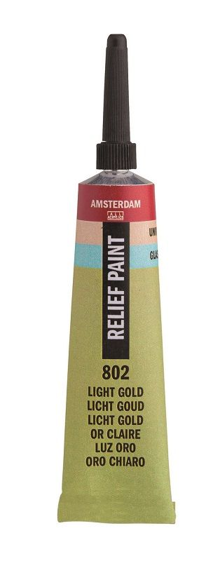 Talens Amsterdam deco relief paint.  Tube met 20 ml relifverf met extra fijne punt.  Geschikt voor gebruik op stevig karton-,hout-   papier- plexiglas-, glas- en geglazuurd keramiek.  Leverbaar in 15 kleuren.