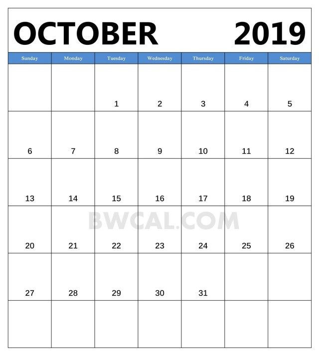 October 2019 Calendar A4 Size Landscape Vertical Portrait