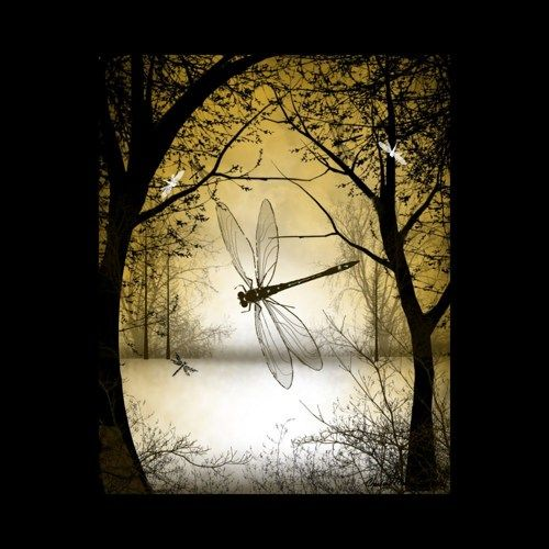 Fantasy Art Tree Print - A Touch of Autumn -- Trees and Dragonflies | cmzart - Print on ArtFire