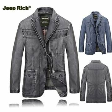 Jeep Rich Mens PU Leather Jacket Buttons Motorcycle Fashion Coat Casual Suit at Banggood
