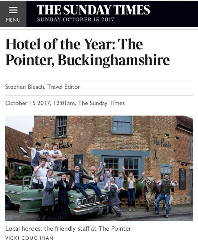 CONGRATULATIONS to team Pointer for winning the Sunday Times, Hotel of the Year award [ see link in bio for full article ] There are some grand hotels in The Sunday Times Best Places to Stay. Places that welcome you with a fanfare: white-gloved doormen, sparkling lobby, champagne on a silver tray. Very nice they are, too. Our Hotel of the Year isn't one of them. There are others that fling open the door, smile warmly, show you over to a snug sofa by the fire and thrust a glass of red into…