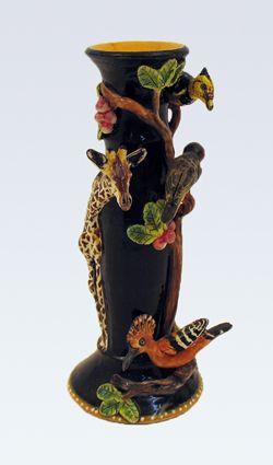 Giraffe and Garden birds candlestick - Ken Rowse