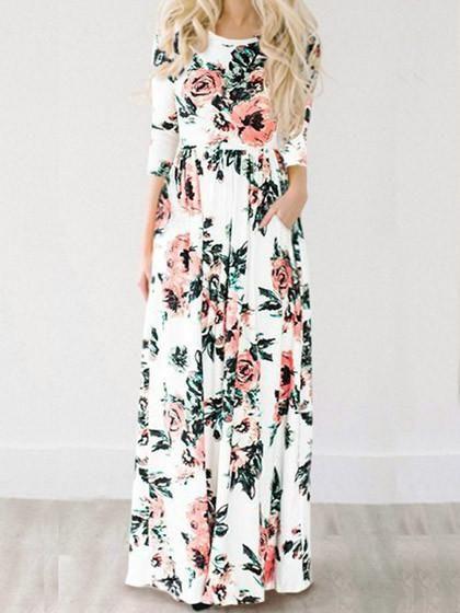 Chicnico Ecstatic Harmony White Floral Print Maxi Dress