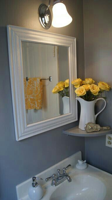 11 best yellow gray bathroom ideas images on pinterest for Small yellow bathroom ideas