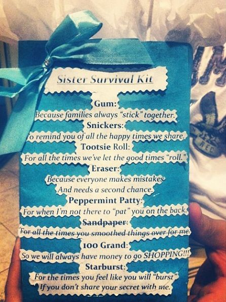 Sister survival kit. I did this for my sister and she loved it! (: