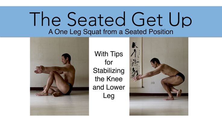 The seated get up is a basically a one legged squat done starting from a seated position. The video includes tips on stabilizing the knee.