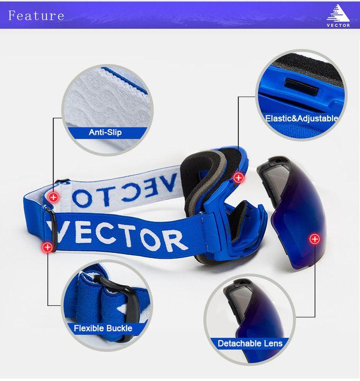 VECTOR Ski Goggles Double UV400 Anti Fog Big Mask Glasses Skiing Professional Snow Snowboard Sale - Banggood.com