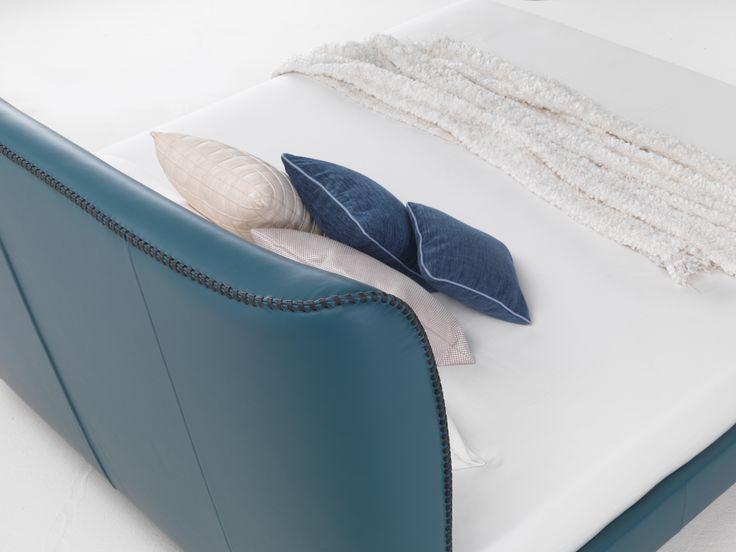 Handmade GIULIETTA bed headboar leather spiral sewing