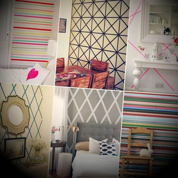 Como decorar parede com fita adesiva decorar paredes for Como decorar c