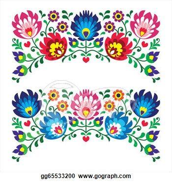 Polish floral folk pattern