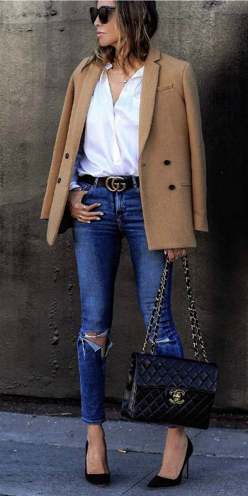 Sasha Simon + double breasted camel blazer + open white button down + distressed denim skinny jeans + elegant work-ready style   Brands not specified.