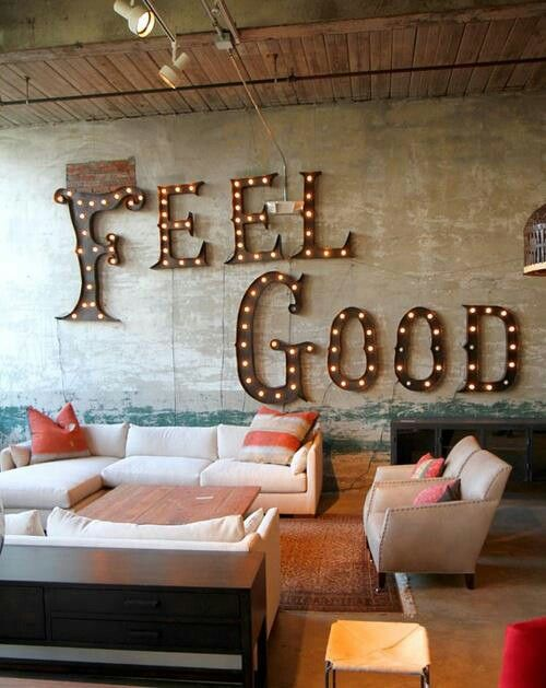 I love this space for the main loving room at RWS, and how can you not love a decorative command to the 'feel good' vibe!