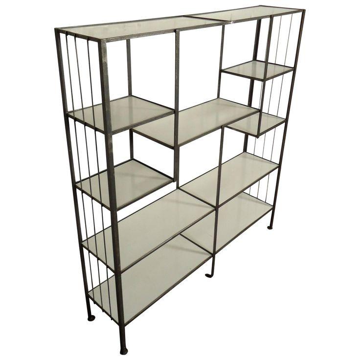 Frederick Weinberg Style Midcentury Iron and White Laminate Shelving Unit | 1stdibs.com