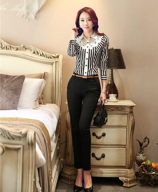 Moda para mujer trajes de pantalones de mujer trajes con 2 de dos piezas pantalón y superior establece rayas blusa y camisas para mujer de la oficina OL uniforme diseños