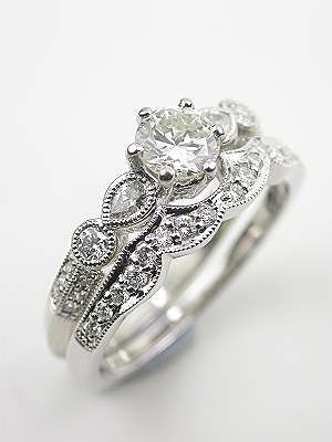 Antique Style Diamond Wedding Band Nice Looking Set.