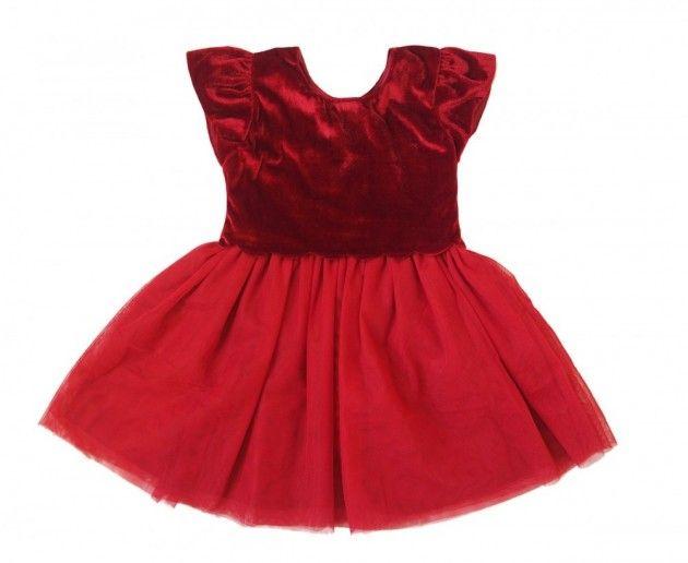Rød Salto velourkjole til baby   DressMyKid.no - Barn og baby - Alltid gode tilbud