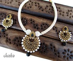 Juzba Indian Jewellery - Stunning Antique Gold Black Polki Necklace Set INDIAN JEWELLERY UK