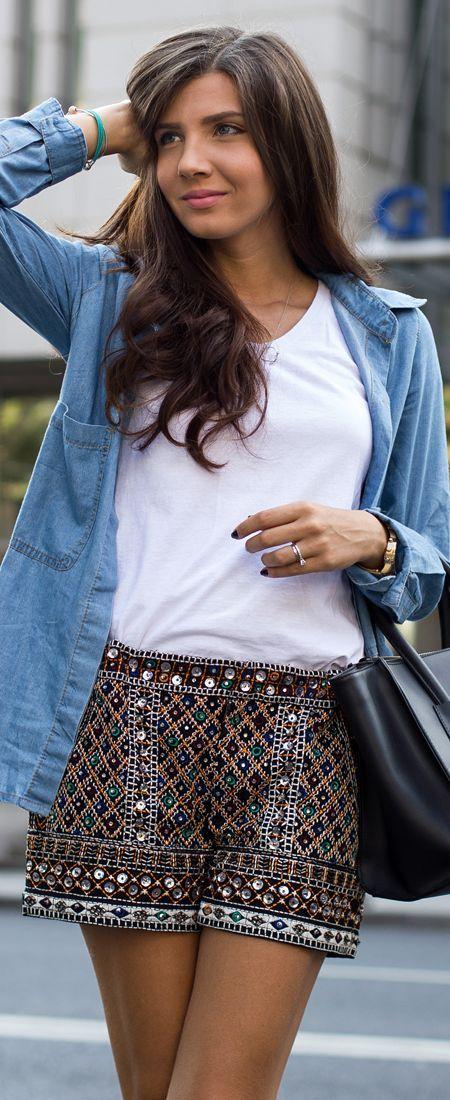 Kurtmann Multi Tribe Jewel Embellished Shorts