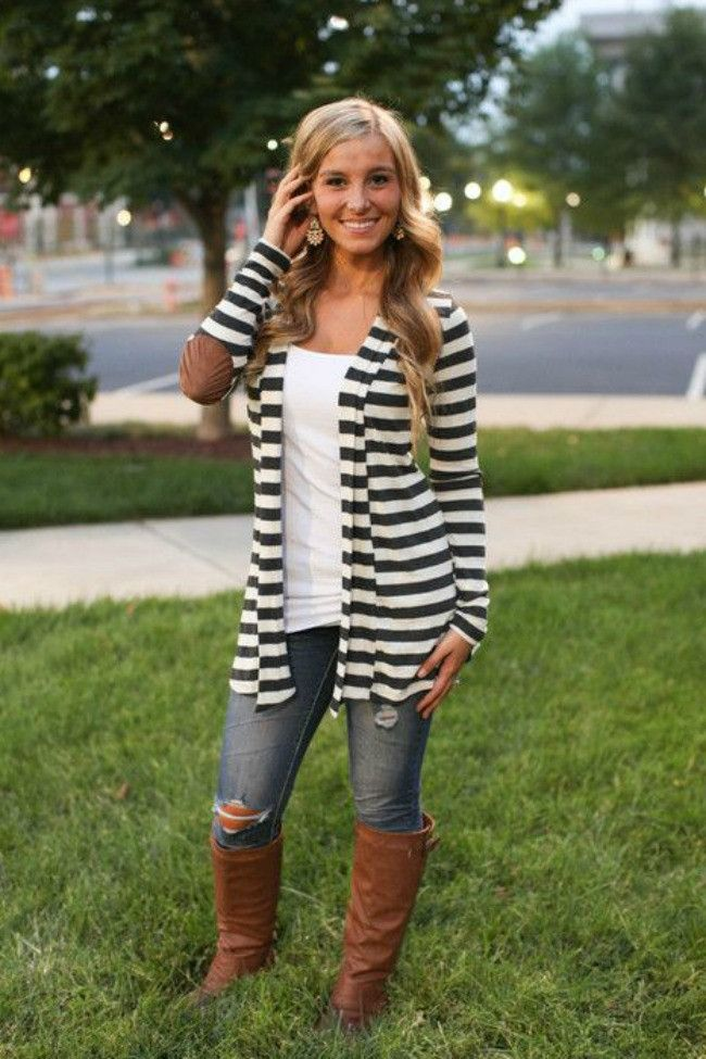 "Beautiful basic charcoal striped cardigan with super cute elbow patches that added a touch of fall! Super comfy and soft and looks great. - Length from shoulder to hem: S-31.5"", M-32"", L and XL-32.5"""