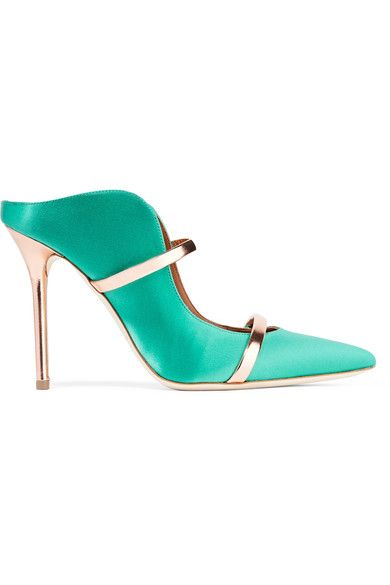 Heel measures approximately 100mm/ 4 inches Jade satin, rose gold leather Slip on Made in ItalySmall to size. See Size & Fit notes.