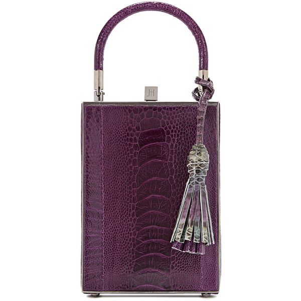 Jill Haber Sebastian Purple Ostrich Box Bag ($1,985) ❤ liked on Polyvore featuring bags, handbags, decorating bags, tassel bags, top handle handbags, ostrich purse and metallic handbags