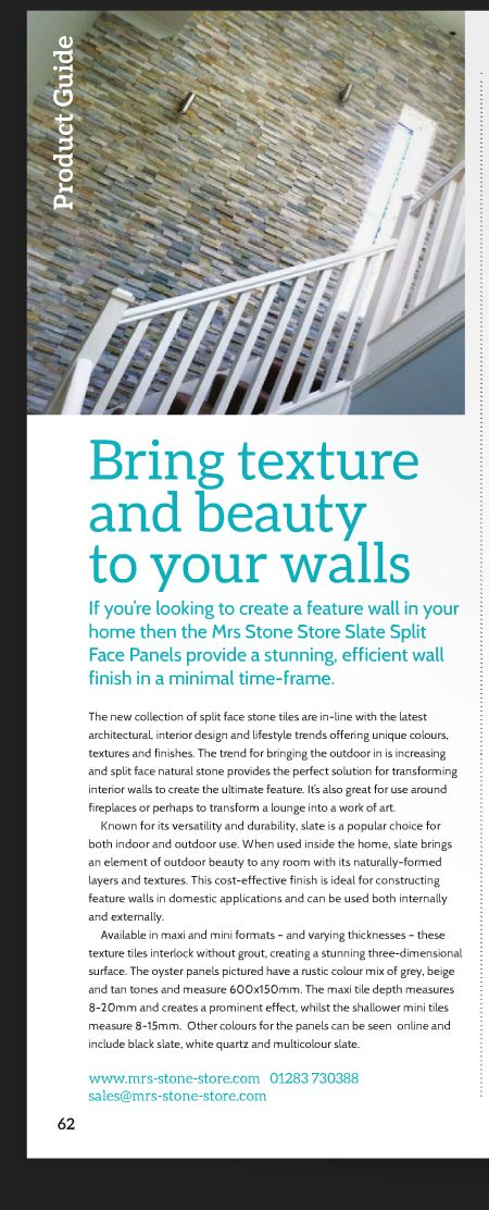 Coverage of our slate wall tiles in i-Build Magazine #naturalstone #featurewalls