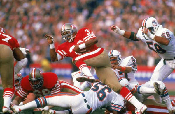 Super Bowl XIX | January 20, 1985 – The Montana – Marino Bowl was the first Super Bowl ever in which both quarterbacks threw for over 300 yards. The game was far from close despite the impressive stats. The 49ers beat the Miami Dolphins 38-16 in Palo Alto, winning their second Super Bowl. Joe Montana won his second MVP, throwing for 331 yards and three touchdowns.