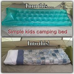 Camping with Kids. Kids camping bed. Easy camping bed for kids.