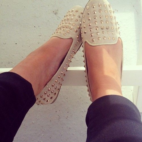 cuffed pants and studded flats