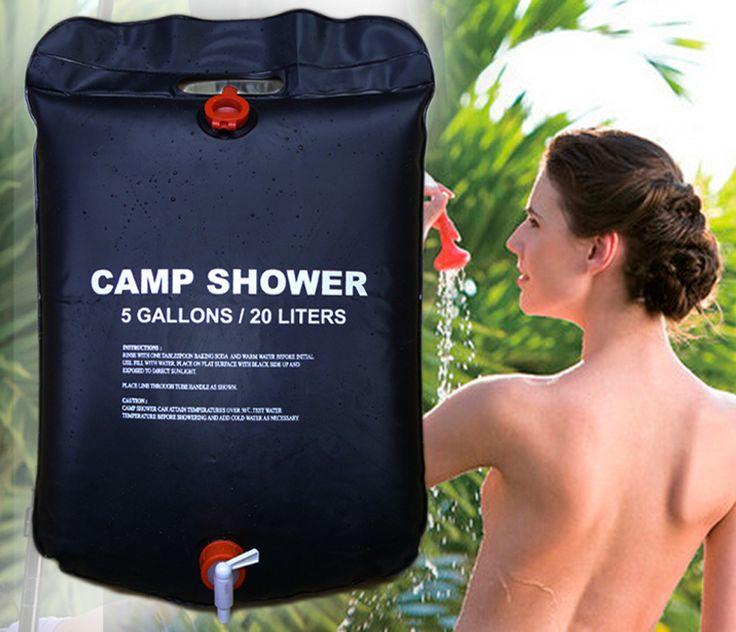 20L/5 Gallons Zonne-energie Verwarmd Camp Douche Bag Utility zwart PVC Douche Water Bag Voor Outdoor Camping Wandelen Water Opslag