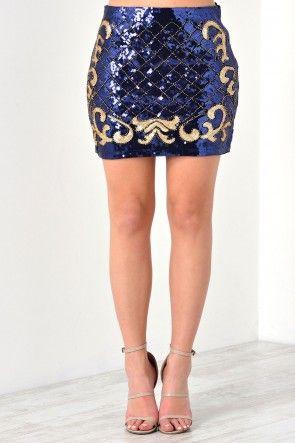 Lauren Sequin Mini Skirt in Navy