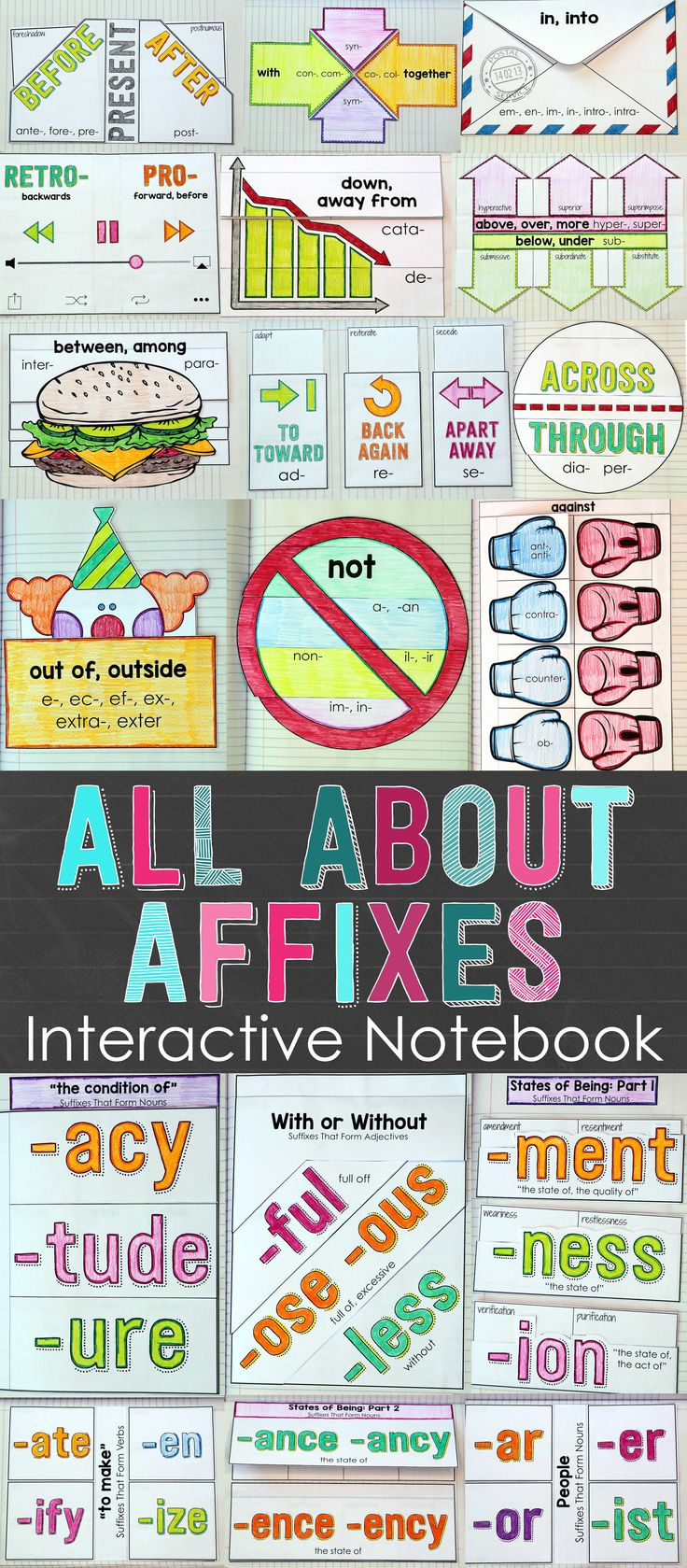Teach prefixes and suffixes in a meaningful and engaging way! Your students will love learning affixes with this hands-on resource. Included are 25 Interactive Notebook activities that will help your students understand the meaning of several words related to over 85 different affixes. $