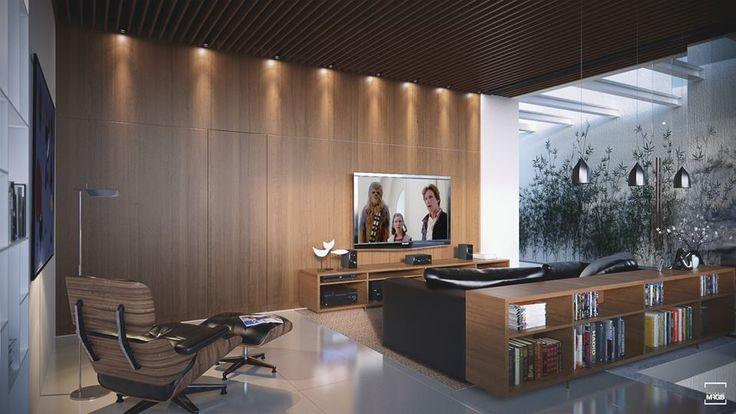 Que tal uma sala de TV ampla para aproveitar com a família? #tv #sala #ampla #decoração #casa #imóvel