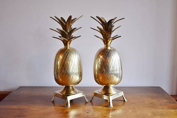 Pair of Brass Pineapple Bookends Candle Holders 11 Tall